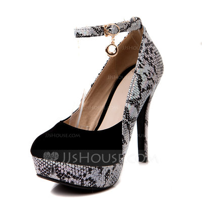 Women's Leatherette Stiletto Heel Pumps Platform Closed Toe With Buckle Animal Print shoes