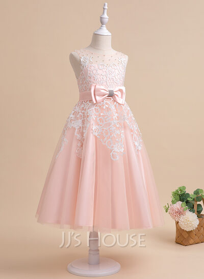 A-Line Tea-length Flower Girl Dress - Tulle Sleeveless Scalloped Neck With Lace/Beading/Rhinestone/Back Hole