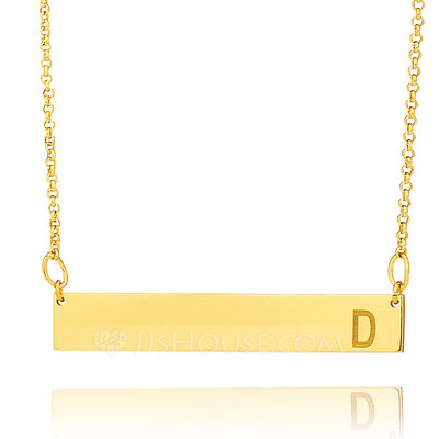 Christmas Gifts For Her - Custom 18k Gold Plated Name Initial Engraving/Engraved Bar Necklace