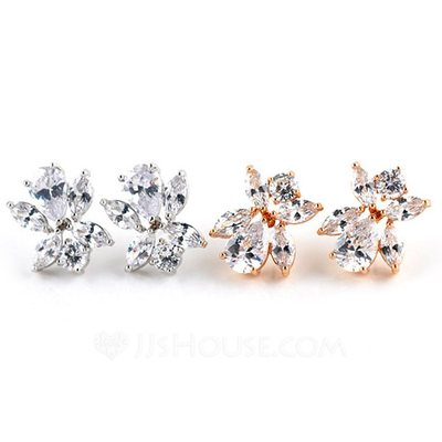 Nice Zircon/Gold Plated/Platinum Plated Ladies' Earrings