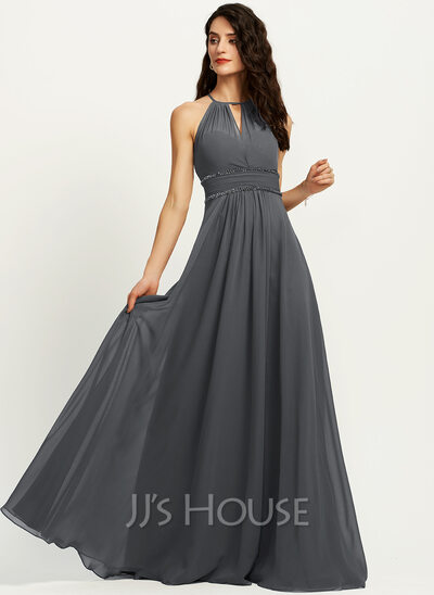 A-Line Halter Floor-Length Chiffon Bridesmaid Dress With Ruffle Beading Sequins