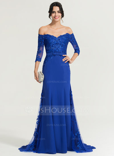 Trumpet/Mermaid Off-the-Shoulder Sweep Train Chiffon Evening Dress With Sequins Bow(s)