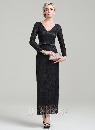 Sheath/Column V-neck Ankle-Length Lace Mother of the Bride Dress With Bow(s)