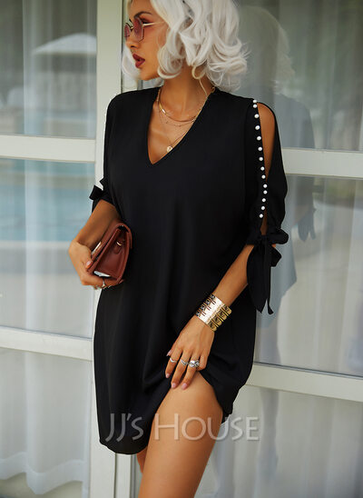 V-Neck 1/2 Sleeves Cold Shoulder Sleeve Midi Dresses