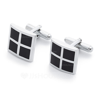 Simple Square Zinc Alloy Cufflink (Set of 2)