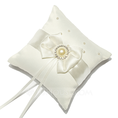 Mini Ring Pillow in Satin With Rhinestones/Faux Pearl