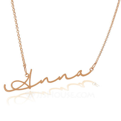 [Free Shipping]Custom 18k Rose Gold Plated Silver Signature Name Necklace - Birthday Gifts Mother's Day Gifts