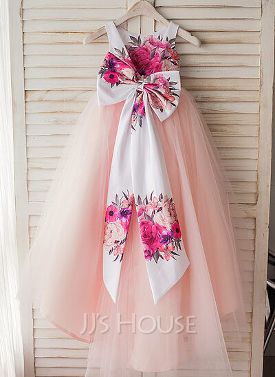 A-Line/Princess Asymmetrical Flower Girl Dress - Satin/Tulle Sleeveless Scoop Neck With Bow(s)/V Back