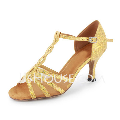 Women's Sparkling Glitter Heels Sandals Latin Ballroom With T-Strap Dance Shoes