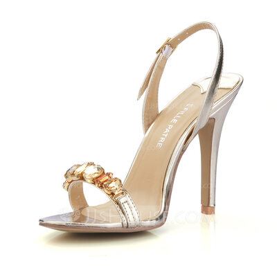 Women's Patent Leather Stiletto Heel Sandals Slingbacks With Rhinestone shoes