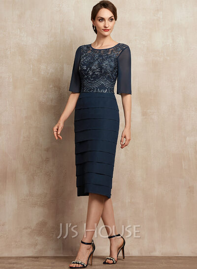 Sheath/Column Scoop Neck Knee-Length Chiffon Lace Mother of the Bride Dress With Sequins Cascading Ruffles
