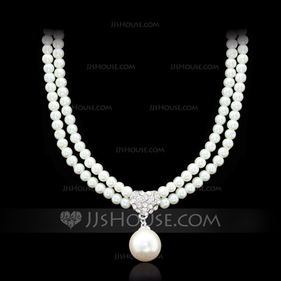 Gorgeous Alloy/Czech Stones With Imitation Pearls Ladies' Necklaces