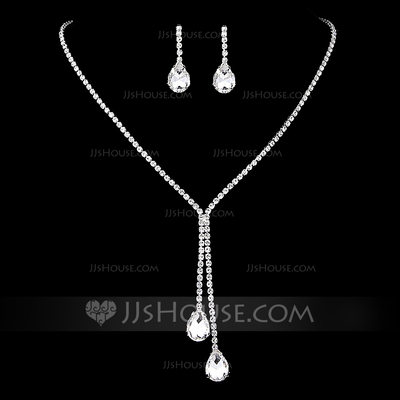 Ladies' Stylish Rhinestones With Pear Jewelry Sets