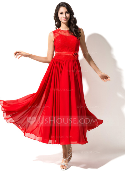 A-Line/Princess Tea-Length Chiffon Lace Homecoming Dress With Beading Flower(s)