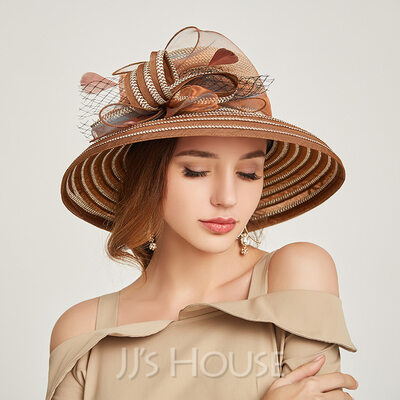Ladies' Beautiful/Special Papyrus With Tulle Straw Hats
