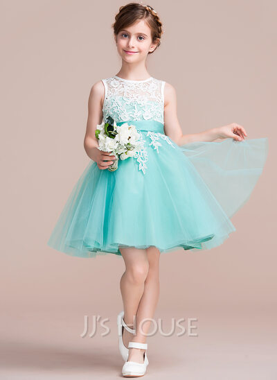 A-Line Knee-length Flower Girl Dress - Tulle/Lace Sleeveless Scoop Neck With Sash/V Back