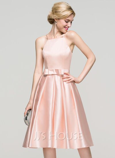 A-Line Square Neckline Knee-Length Satin Cocktail Dress With Bow(s)