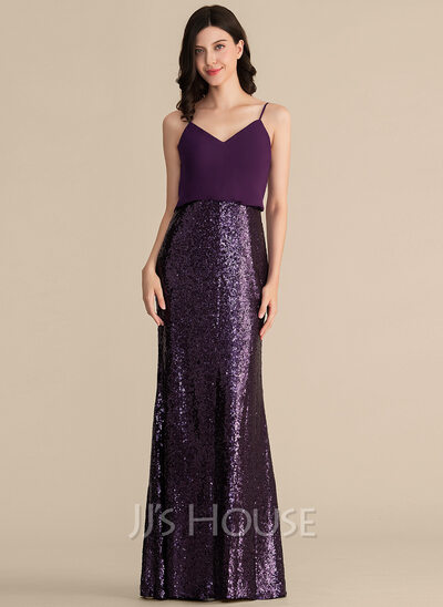 Sheath/Column V-neck Floor-Length Chiffon Sequined Prom Dresses