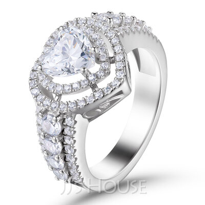 Halo Side Stones Heart Cut 925 Silver Engagement Rings