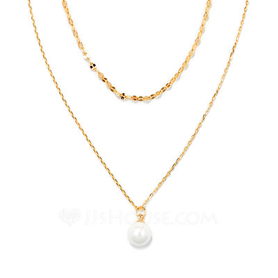 Christmas Gifts For Her - 18k Gold Plated Silver Double Pearl Pendant Necklace