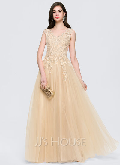 A-Line/Princess V-neck Floor-Length Tulle Prom Dresses With Beading