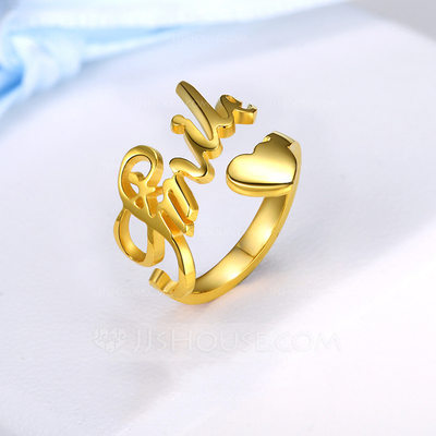 Personalized Ladies' Hottest Gold Plated With Round Name Rings Rings For Bride/For Bridesmaid/For Friends