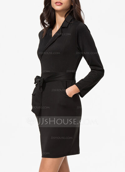Polyester With Stitching/Solid Above Knee/Knee Length Dress