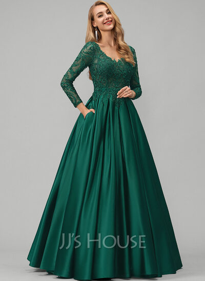 Ball Gown Princess V Neck Floor Length Satin Prom Dresses With