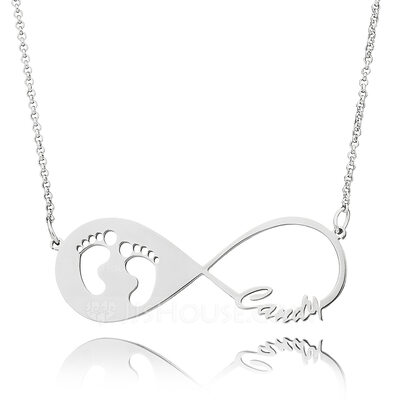 Christmas Gifts For Her - Custom Sterling Silver Baby Footprint Infinity Necklace Infinity Name Necklace With Kids Names