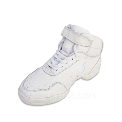 Women's Men's Real Leather Sneakers Practice With Lace-up Dance Shoes