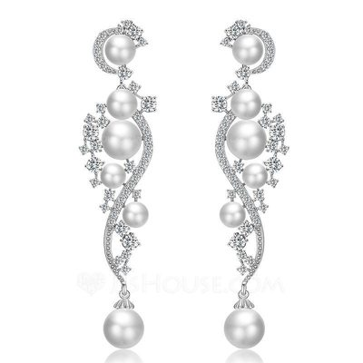 Ladies' Elegant Copper/Zircon/Imitation Pearls Imitation Pearls Earrings For Bride/For Bridesmaid