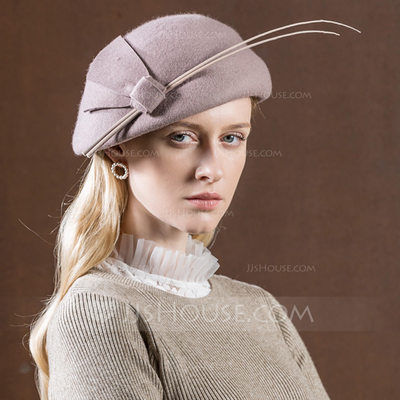 Ladies' Glamourous/Vintage Wool With Feather Beret Hat