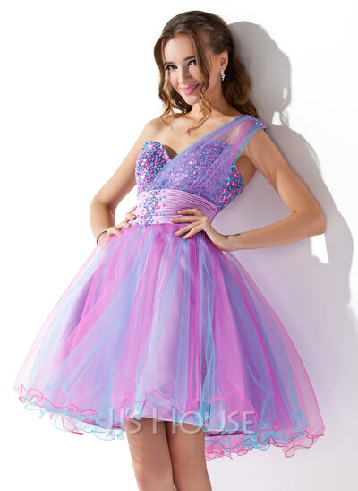 A-Line/Princess One-Shoulder Short/Mini Tulle Homecoming Dress With Ruffle Beading Sequins