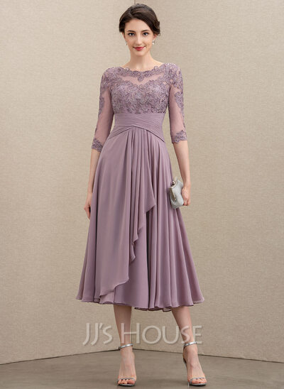 Scoop Neck Tea-Length Chiffon Lace Mother of the Bride Dress With Cascading Ruffles