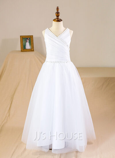 A-Line/Princess Floor-length Flower Girl Dress - Tulle Sleeveless V-neck With Beading Sequins Pleated