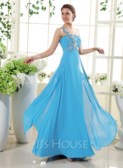 A-Line/Princess One-Shoulder Floor-Length Chiffon Holiday Dress With Ruffle Beading Appliques Lace