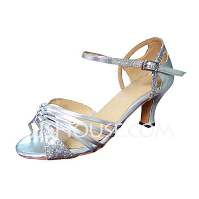 Women's Sparkling Glitter Patent Leather Heels Sandals Latin Dance Shoes