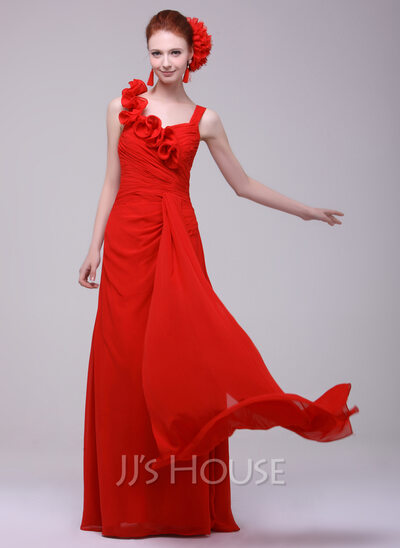 A-Line/Princess Sweetheart Floor-Length Chiffon Holiday Dress With Ruffle