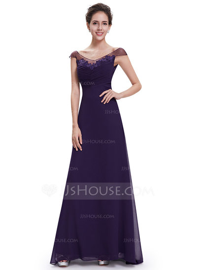 Polyester/Satin/Tulle/Silk Blend With Appliques Maxi Dress