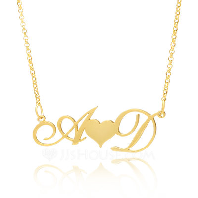 Christmas Gifts For Her - Custom 18k Gold Plated Silver Letter Two Heart Necklace Initial Necklace With Heart