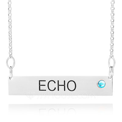 Christmas Gifts For Her - Custom Sterling Silver Name Birthstone Necklace Bar Necklace With Birthstone