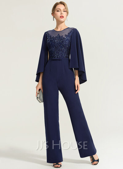 Scoop Neck Floor-Length Stretch Crepe Evening Dress With Sequins Bow(s)
