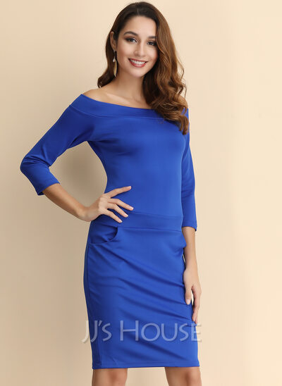 Polyester With Resin solid color Above Knee Dress