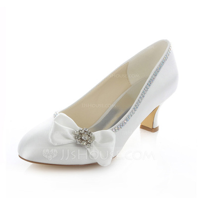 Women's Satin Spool Heel Closed Toe Pumps With Bowknot Rhinestone