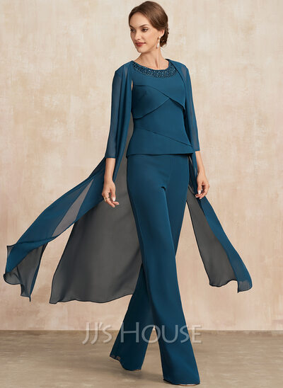 Jumpsuit/Pantsuit Scoop Neck Floor-Length Chiffon Mother of the Bride Dress With Beading Cascading Ruffles