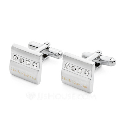 Personalized Stainless Steel Cufflinks With Diamond Rhinestone (Set of 2)
