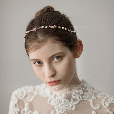 Ladies Classic Alloy Headbands With Venetian Pearl (Sold in single piece)