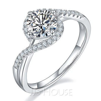 Unique Round Cut 925 Silver Engagement Rings