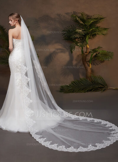 One-tier Lace Applique Edge Chapel Bridal Veils With Lace