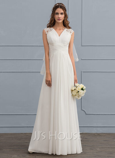 A-Line/Princess Sweetheart Floor-Length Chiffon Wedding Dress With ...